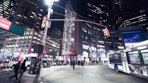 NEW YORK CITY - DECEMBER 2018: Columbus Circle night traffic in Manhattan in Live Action