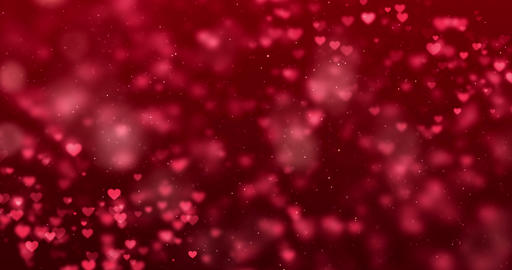 abstract christmas gradient red gradient background with bokeh glitter and red hearts shape flowing, Live Action