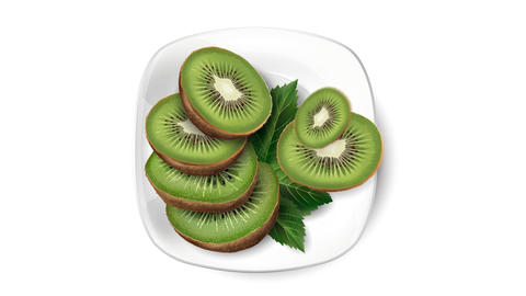 Animation of kiwi on a white plate Live Action