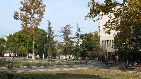 Studentski Park (Academic Park) in Studentski Trg (Students Square) Belgrade Live Action