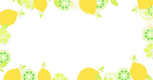 Stop motion animation of vector citrus fruits forming a frame on transparent background with alpha Live Action
