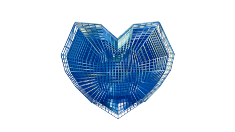 3D Futuristic Tech Wireframe Heart Animation