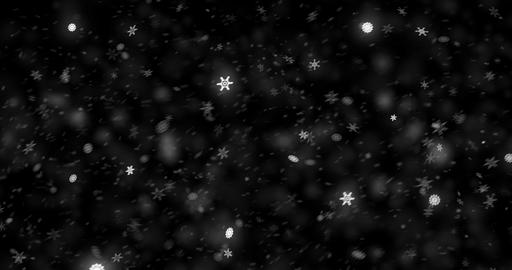 christmas black screen background with snowflakes falling snow from top, holiday snow xmas Live Action