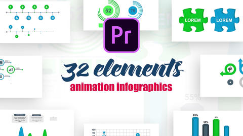 Infographics MOGRT vol.17 Plantillas de Motion Graphics