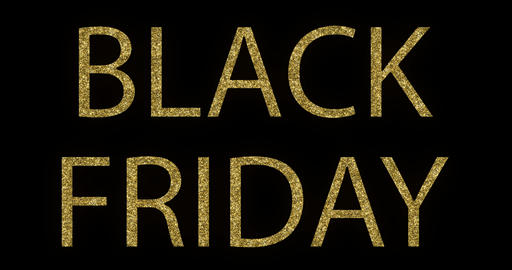 vintage yellow gold metallic glitter black friday word text with light reflex on black background Live Action