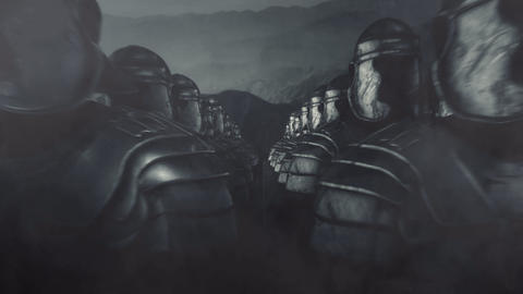 Roman Legionnaires in a Battle Formation Ready for War Live Action