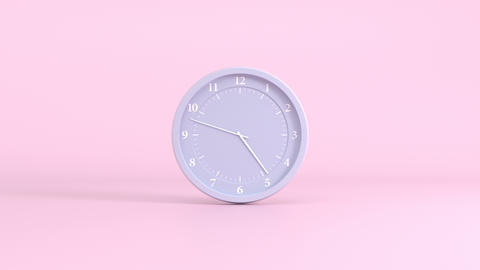 Grey clock with white numbers and hands on a pink background, time interval Animation
