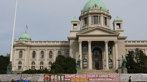 Serbian parliament building) in Belgrade is a landmark and tourist attraction Live Action