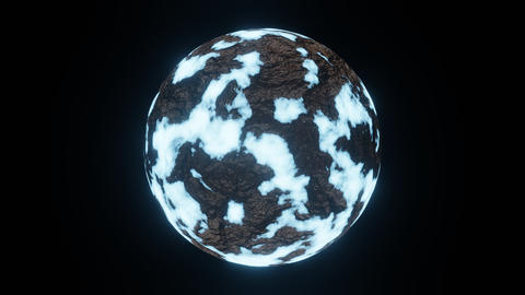 Ice Planet or Ice Age Cold World Rotate Motion Background on Center Frame Animation