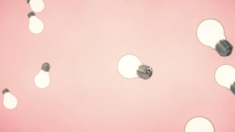 3d animation: Abstract looped background with lots of flying and rotating electric light bulbs on Animation