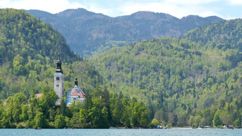 Bled Lake Island with Church Hyperlapse in 4K UHD idyllic Slovenia Apls Live Action