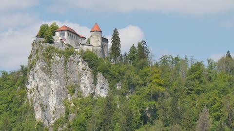 Bled Castle Hyperlapse. 4K High Definition Iconic Slovenia Landmark Live Action
