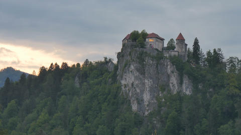 Bled Castle Time Lapse in 4K UHD UltraHD Iconic Slovenia Touristic Attraction Live Action