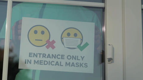 Entrance to public places only in a medical mask Live Action