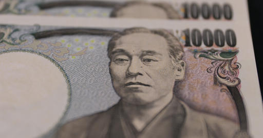 Japanese currency 100,000 yen on the black background closeup ライブ動画