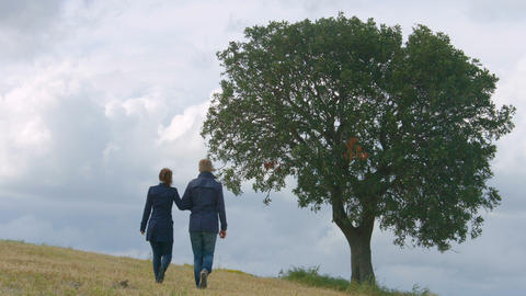 Happy young people in love walking, live life together forever, romantic story Footage