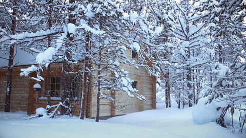 House in the Forest and Snowfall. Seamless Loop Footage