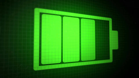 Looped animated background with charging battery icon acid-green color Animation