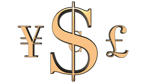 Animated rotating 3d golden world currencies signs against white background. Dol Animation