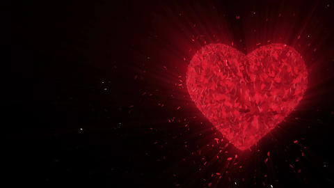 Abstract looped animated background: Rotating luminous 3d ruby heart formed piec Animation