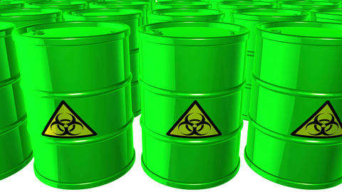 Looped animated background with acid-green barrels with black-yellow sign of bio Animation