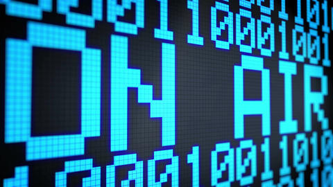 Looped animated background with running lines with binary code and shimmering te Animation