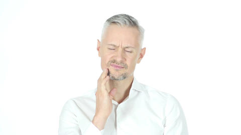 Man Having Toothache , Pain In Teeth , Portrait White Background Footage
