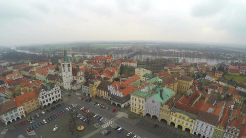 Aerial shot of old town with beautiful architecture, European red roof buildings Footage