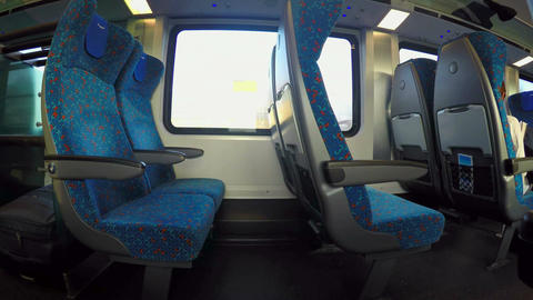 Free seats on intercity express train timelapse, public transportation service Footage