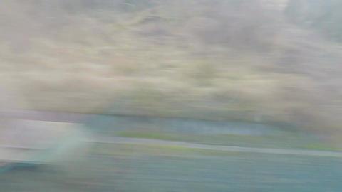 Monotonous view through intercity bus window, public transport, long trip, way Footage