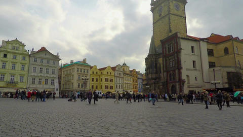 Busy square in old European city downtown, beautiful architecture, tourism Footage
