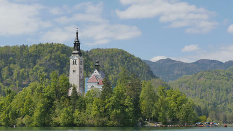 Bled Church Hyperlapse 4K Ultra High Definition. Bled is a Lake in Slovenia Alps Live Action