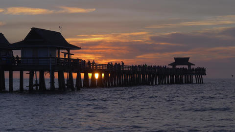 Naples Beach and Fishing Pier at Sunset Live Action
