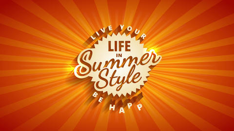 summer vacation for travel agency with words be happy and live your life written in old fashion Animation