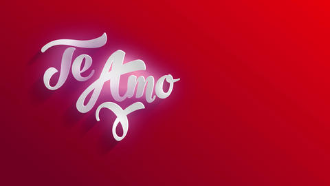 valentines day cardboard illustrating i romance you in spanish te amo written with classical 3d Animation