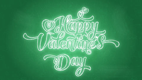 laughing valentines day words written with big printing using curly offset on green blackboard Animation