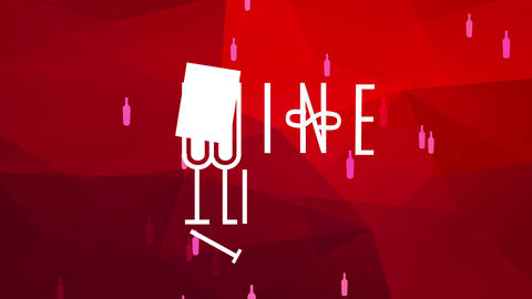 luxury drinks with two long glasses of wine cleverly drawn to create writing w and l handling modern Animation