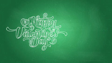 happy valentines day words written with big lettering using curly typography on green chalkboard Animation