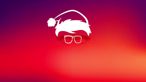 cool merry christmas made with face silhouette of bearded hipster santa claus wearing sunglasses and Animation