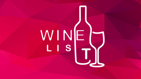 wine list menu written with elegant typography mixed with bottle and glass graphics over abstract Animation