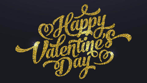 happy valentines day love written with golden glitter with hearts shining over a black canvas like Animation