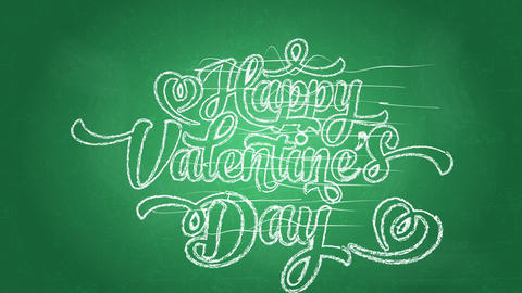 joyful valentines day words written with big printing using curly offset on green blackboard Animation