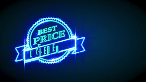 neon lighting discount selling with words limited edition written on a folded medal above a circular Animation