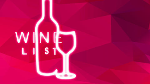 wine list menu written with luxury typography mixed with bottle and glassware visual over abstract Animation