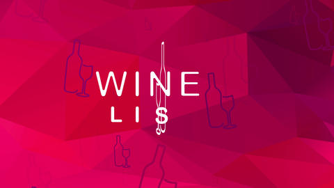 wine list menu written with formal offset mixed with bottle and glassware graphical over abstract Animation