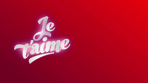 french i romance yourself je taime written with 3d lettering using white curly type over red scene Animation