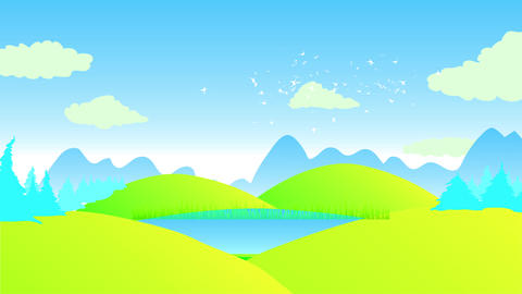 scenic sight with green hills under a clear blue blue sky with conifer jungle and big shade of Animation
