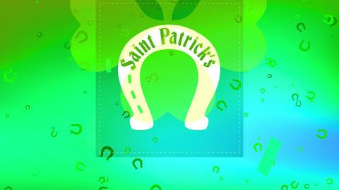 holiday ceremony with saint patricks written inner horseshoe with celtic offset surrounding shamrock Animation