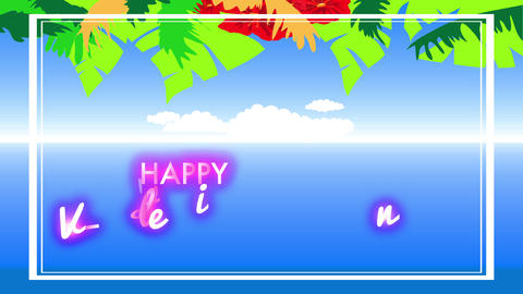 tropical valentines day banquet with flowers and plants of vivid colours decorating a clear blue sky Animation