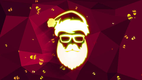 hippy santa claus made with light yellow facial wearing sunglasses and xmas headwear above a red Animation